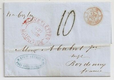 1852 Mauritius To France Cover, Packet Letter Red Pmk, Taxed, Contents