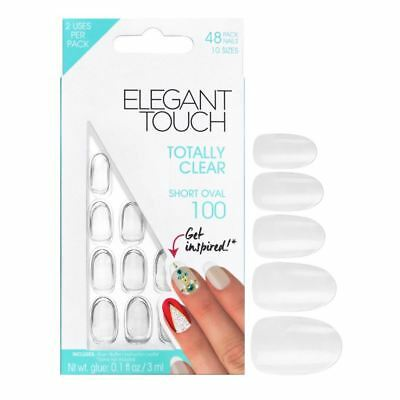 Elegant Touch Faux Ongles - Totally Transparent Court Ovale 100 (48 Ongles)