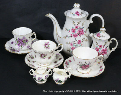 13-PC CHINA TEA POT, CUPS & SAUCERS, CREAMER Royal Albert, Hammersley, Japan +