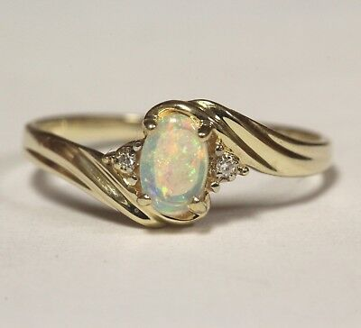 14k yellow gold .01ct VS G womens diamond opal ring 1.7g estate vintage