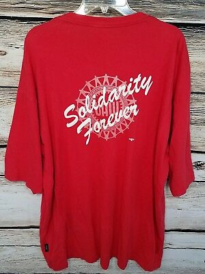 UAW Mens Size 3XL Cotton T Shirt Red Short Sleeve Solidarity Forever Auto Union