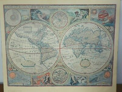 Circa 1970s Vtg Map Reproduction Print Titled A NEW AND ACCVRAT MAP OF THE WORLD