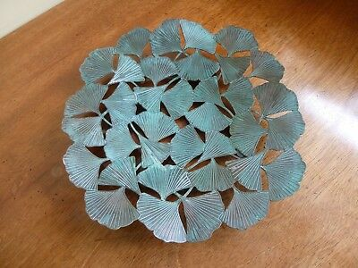 Frank Lloyd Wright Inspired Patinated Copper Ginkgo Leaf Plate USA Museum Shop