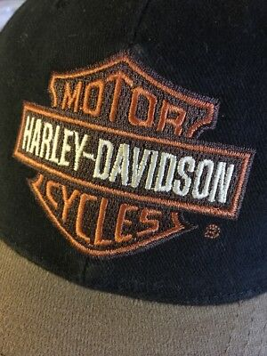 Harley-Davidson Motorcycle Rider's Black & Tan Baseball Cap /One Size Fits All