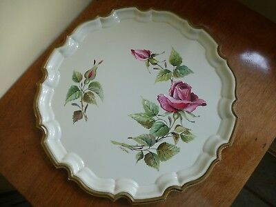Vintage Hand Painted Tin Serving Drinks Tray Pink Roses Signed Joy Barlow