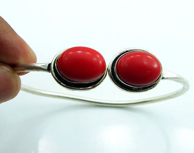 925 Silver Plated Red Coral Ethnic Indian Bracelet / Bangle 1814