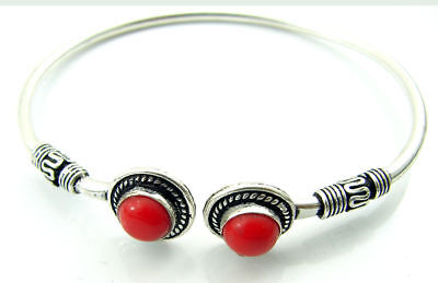 925 Silver Plated Red Coral Gemstone Antique Indian Bracelet / Bangle 1450