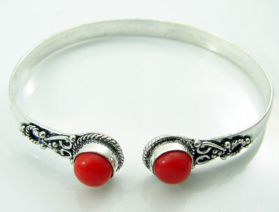 925 Silver Plated Red Coral Gemstone Antique Indian Bracelet / Bangle 1458