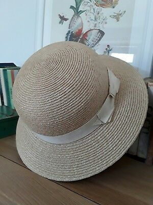 Vintage Ridgmont Girls Straw School Hat Grosgrain Ribbon Circumference  20.5""