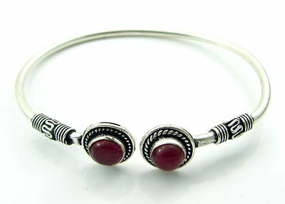 925 Silver Plated Red Onyx Gemstone Antique Indian Bracelet / Bangle 1452