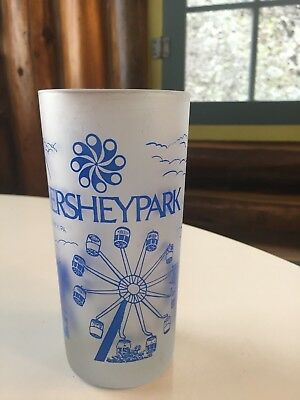 Hersheypark souvenir glass blue and white vintage Pennsylvania chocolate