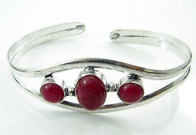925 Silver Plated Red Onyx Gemstone Antique Indian Bracelet / Bangle 1466