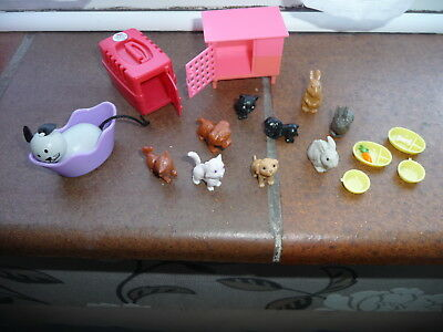 Cute set of little miniature dolls house pets with hutch,cover,travelcase,food..