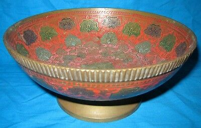 Vintage Old Original Hand Crafted Nicely Designed Brass Bowl Rich Patina