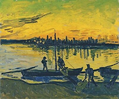 Vincent van Gogh, Coal Barges, 1888, Hand Painted Canvas Oil Painting