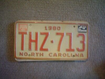 North Carolina 1980   License Plate    Buy All States Here