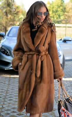 New Mink Fur Trench Coat Class Of Russian Sable Chinchilla Fox Vest Long Jacket