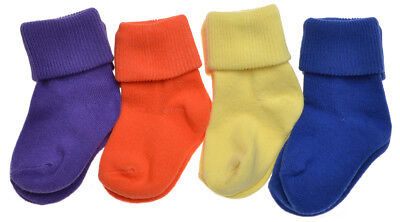 4 pairs of Plain Bright Colours Baby Socks - Roll Top Socks