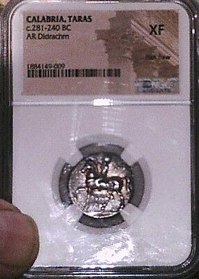 Calabria, Taras Didrachm, 281-240Bc, Ngc Xf, Solid, Centered, Remaining Luster