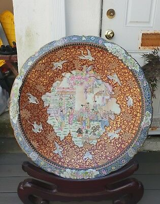 Wonderful Huge New Chinese Porcelain rose famille Dish 30 in!