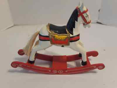 """12"""" Real Wood Wooden Decorative Rocking Horses Circus Themed Look - Nice"""