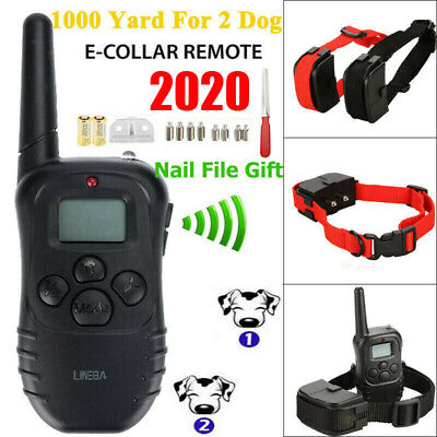 Waterproof 1000 Yard 2 Dog Shock Training Collar Pet Trainer with Remote 4 Mode