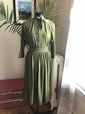 1950s 50s Vintage Two Piece Soft Green Cotton Wool Skirt Set