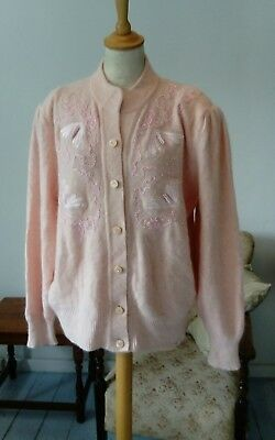 Vintage 80s Mohair Embroidered beaded Cardigan Oversized