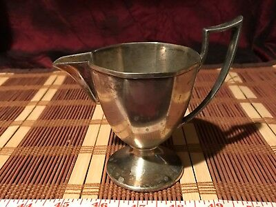 Vintage W.M. Mount Homan Plate on Nickel Silver Footed Creamer 0612