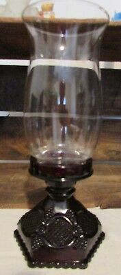 Avon 1876 Cape Cod Ruby Red Hurricane Candle Holder with Clear Globe