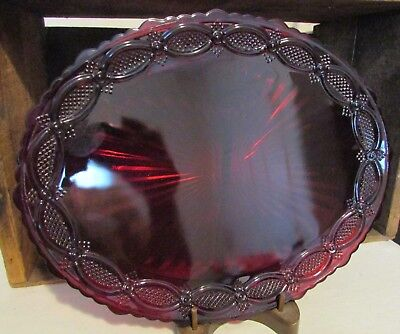"""Vintage 1876 Avon Ruby Red Cape Cod Collection 13 1/2"""" Oval Serving Platter"""