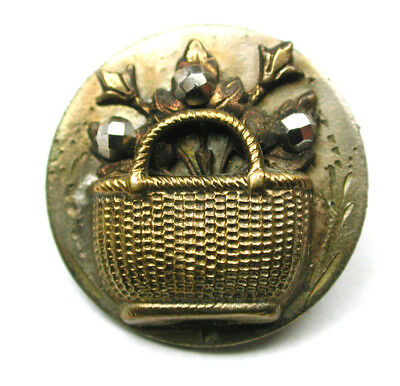 "Antique Brass Button w Cut Steels Flower Basket Dimensional Design 13/16"" 1890"