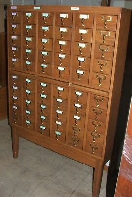 Beautiful Vintage Hard Wood 60 Drawer Library Card Catalog Cabinet!