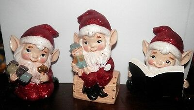 KATHERINES COLLECTIONS holiday 3 elves ELF SHELF SITTER DECOR