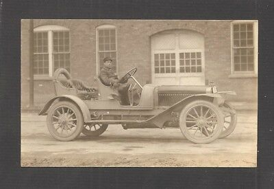 REAL-PHOTO POSTCARD:  EARLY AUTOMOBILE AND DRIVER  -  Unused, c.1910?