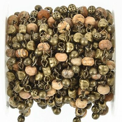 1 yard Picture Jasper Rosary Bead Chain 6mm BRONZE, Gemstone Rondelle fch0983a