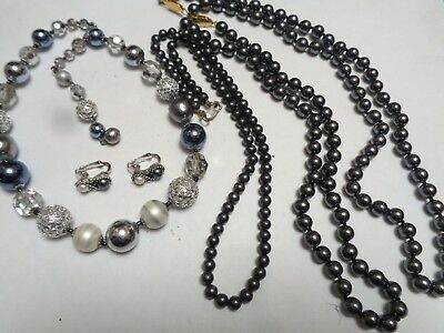 Vintage  LOT OF 4 Black Faux Pearl GLASS Beaded Necklaces & 1 Pair Earrings