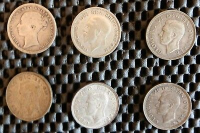 Great Britain Silver Shillings 1874-1945, 8 total coins