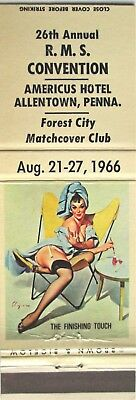 MINT 1966 GIRLIE PINUP Matchbook Cover Americus Hotel Allentown,PA.26th.R.M.S