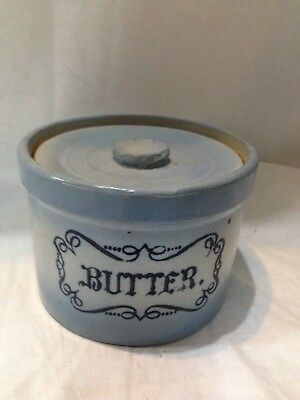 Blue and White Stoneware Butter Crock