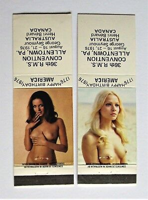 2 MINT NUDE LIVE GIRLIE MODEL Matchbook Covers America's Centenial 1776/1976