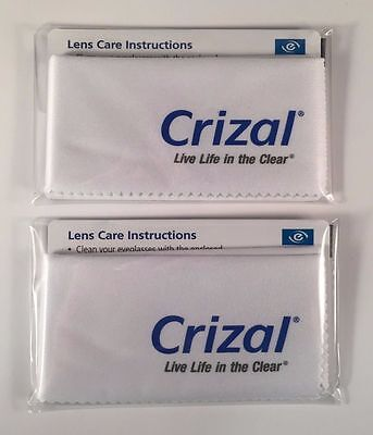 2 CRIZAL FULL SIZED Sealed Microfiber Cleaning Cloth Glasses Phone Lens Camera