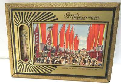 Chicago World's Fair 1934 thermometer framed with picture
