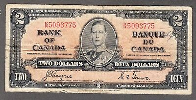 1937 Bank of Canada - $2.00 Bank Note - Coyne Towers - VG - K/R 5093775