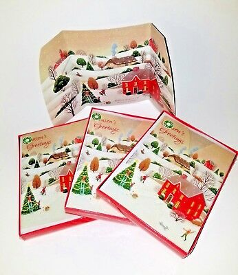 "Lot of 30 Tri-Fold Christmas Holiday Cards Boxed ""Sparkly Snowy Village"""