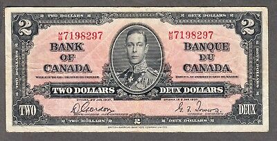 1937 Bank of Canada - $2.00 Bank Note - Gordon Towers - VF - M/B 7198297