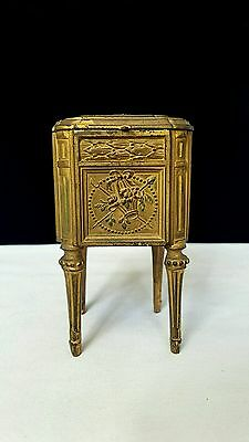 1900s Antique French Depose 426 Bronze Gilt Metal Jewelry Box