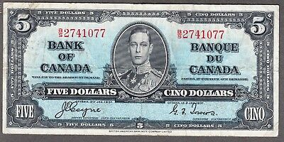 1937 Bank of Canada - $5.00 Bank Note - Coyne Towers - Very Fine - B/S 2741077