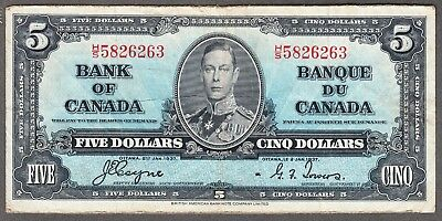 1937 Bank of Canada - $5.00 Bank Note - Coyne Towers - Fine/VF - H/S 5826263