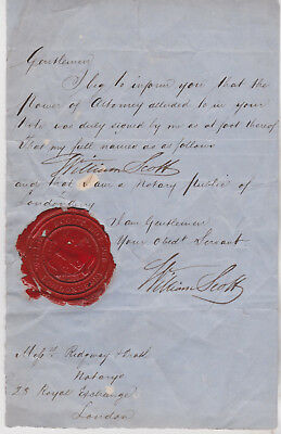 19th Century red wax seal of William Scott notary in Londonderry Ireland